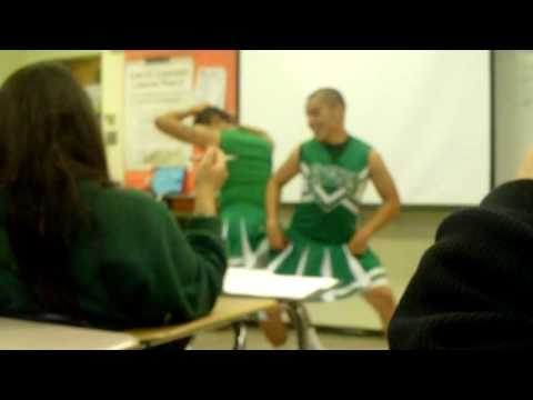 Guys in cheerleading outfits