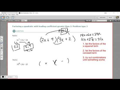 Factoring a quadratic with leading coefficient greater than 1 - problem type 3
