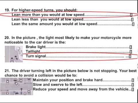 2017 Dmv Motorcycle  Released Test Questions part 2
