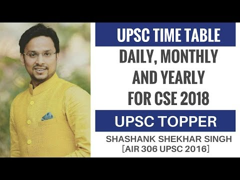 UPSC Time Table - Daily, Monthly & Yearly For CSE 2018 By Shashank Shekhar Singh