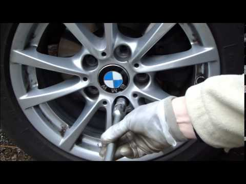How to replace tire and wheel BMW 3 Series F30. Years 2012 to 2018