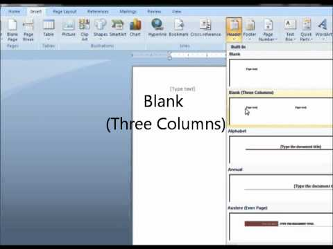 Microsoft Word 2007 Insert Header and Page Number