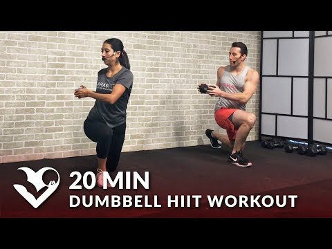 20 Minute Dumbbell HIIT Workout with Weights - 20 Min Tabata Full Body Workout at Home