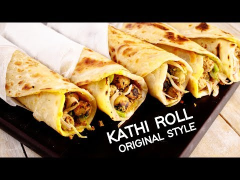 Kathi Roll Recipe - Veg Original Kati Kebab Kolkata Egg Roll Street Style - CookingShooking