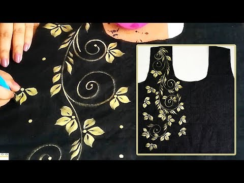 Free Hand Painted Black Kurti Border / Bel Design | Designer Kurti | Fabric Painting