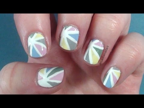 Pastel Sun Rays Nail Art on Short Nails