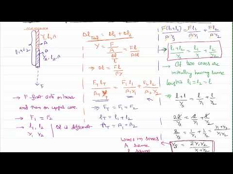 Effective Youngs Modulus of Two Wires in Series for IIT-JEE and NEET Physics
