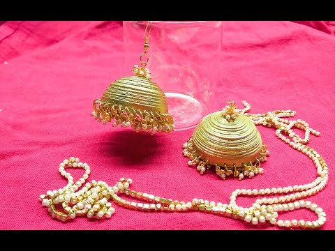 Making Simple and beautiful quilled golden jhumka  (Tutorial)