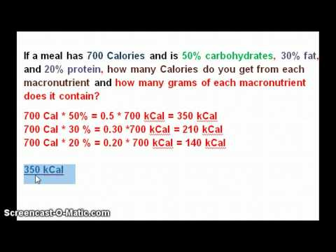 Finding grams of macronutrients from Calories
