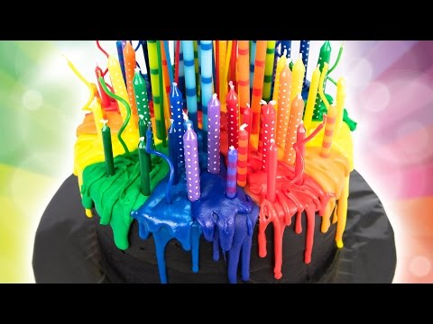 Melting Candle Rainbow Cake (Birthday Cake) from Cookies Cupcakes and Cardio