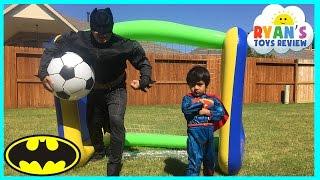 Batman vs Superman HUGE INFLATABLE TOYS for Kids Soccer Challenge
