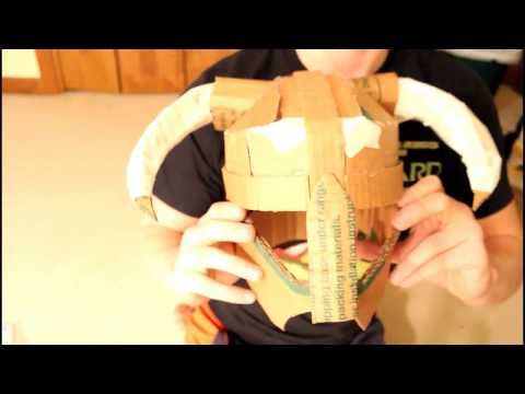 How to make a Skyrim Iron Dovahkiin Helmet Out of Cardboard! Pt. 1