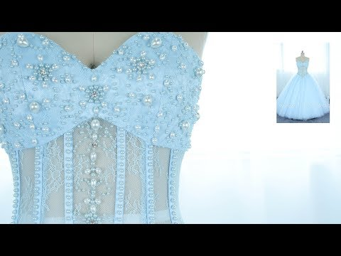 Illusion Strapless Pearl Layered Tulle Ball Gown Prom Dress Made in Baby Blue Col