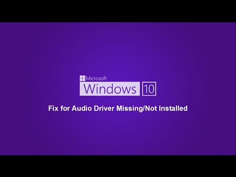 Windows 10 - Audio Driver Missing/Not Installed Fix
