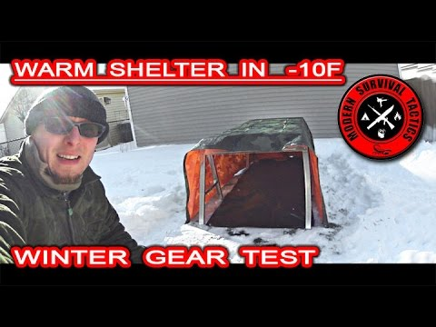 Warm winter shelter in -10F / GEAR TEST - NO HEATING