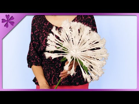 DIY How to make dandelion clock out of tissue paper (ENG Subtitles) - Speed up #474