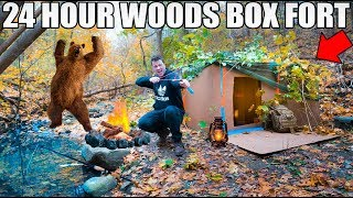 24 HOUR BOX FORT IN THE FORREST SURVIVAL CHALLENGE! 📦🌲 Coyotes, DIY Gear & More!