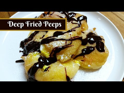 Deep Fried Peeps with Chocolate Fondue ~ Peeps Recipe Challenge ~ Amy Learns to Cook