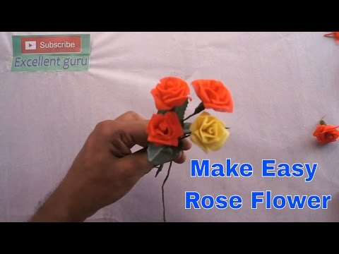 |DIY| How To Make a Simple and Beautiful Organdy cloth Rose Flower