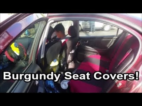 Brand New Burgundy Car Seat Cover Set! [Funny Tutorial]
