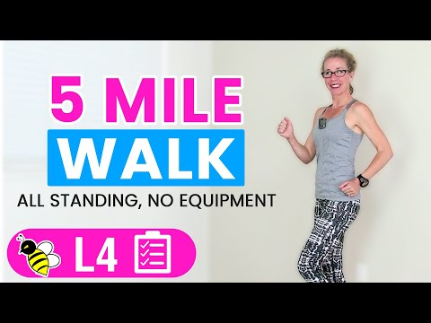 5 Mile WALK   One Hour+ (500 Calories) Indoor WALKING Workout for Fast, FUN Weight Loss
