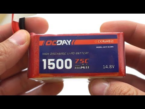 OCDAY 4S LiPo battery - Unboxing (1500 mAh, 75C, 14.8V, Instructions)