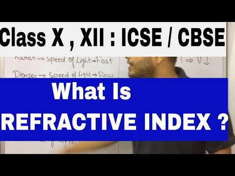 What is Refractive Index ? CLASS X : CBSE / ICSE : Refraction Of Light 02