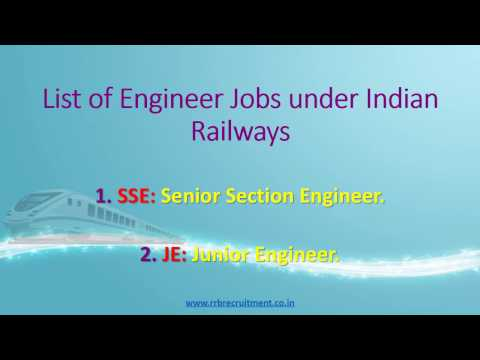 Upcoming RRB JE SSE Jobs - Indian Railway Engineer Jobs 2017
