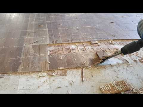 Glue down wood floor removal