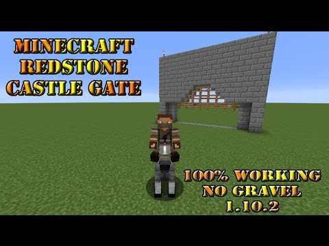 1.10.2 100% Working Easy RedStone Castle Gate with lock (No Gravel)
