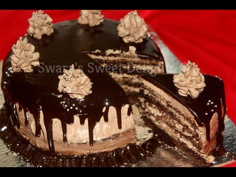 Chocolate Truffle Cake/Eggless Chocolate Cake Without Oven/Dessert/Layered Chocolate Truffle Cake