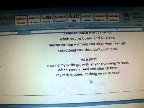 Copy poem to word video 4.