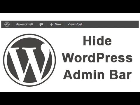How To Hide WordPress Admin Bar