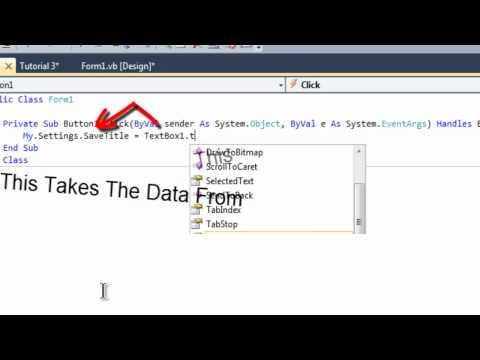 Visual Basic 2010 Tutorial 3 - Saving User Data