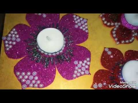 Diwali/Christmas decoration Ideas : How to Decorate Candles or Diya by Trends 2018
