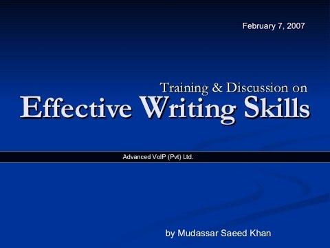 Effective Writing Skills (Training & Discussion)
