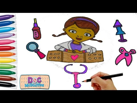 Doc McStuffins Coloring page. How to draw for kids | Learning Colouring Videos