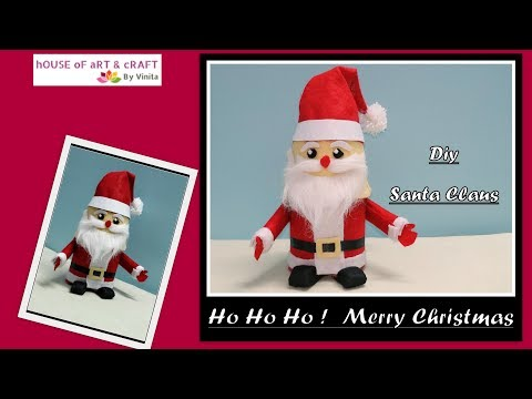 Santa claus made from household things - DIY cute and easy santa claus at home