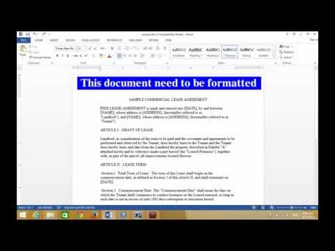Word 2013 - How to Automatically Format an Existing Document