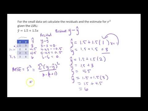 Calculating Residuals and MSE for Regression by hand