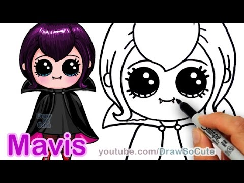 How to Draw Mavis Hotel Transylvania Vampire Girl Cute step by step