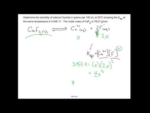 Solubility Product, Ksp, and Solubility: Chemistry Sample Problem