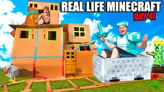 Real Life MINECRAFT Box Fort! 24 Hour Challenge DAY 4 - Working Minecart Track & Diamonds
