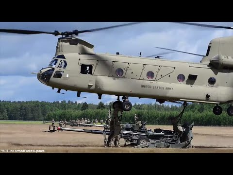 US Military Helicopters lifting the M777 Howitzer Could they lift the F-22 Raptor?