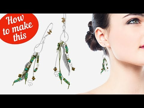 How to make Feather dangly tassel earrings |Seed beads | Metal beads | 140-364