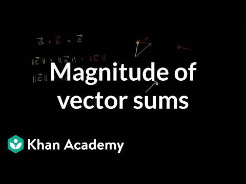 Magnitude of vector sums | Vectors | Precalculus | Khan Academy