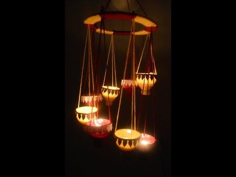 DIY Hanging diya stand /diwali decoration ideas for home/reuse of plastic bottle