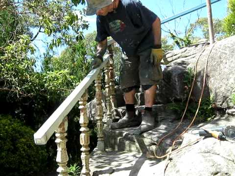 Metal handrail preporation for painting