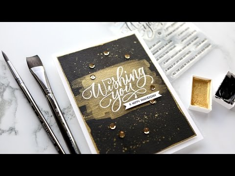 How to Make a Striking Black & Gold Brushstroke Card