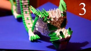 3D origami green Chinese dragon of paper tutorial part 3